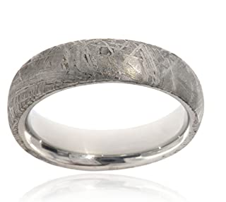 Authentic Gibeon Meteorite Ring 6mm Comfort-Fit Cobalt Chrome Band Jewelry