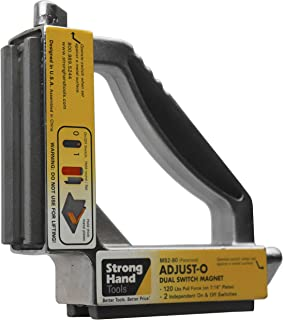 Strong Hand Tools, Adjust-O 90° Dual Switch Magnetic Fabrication Square, On/Off Switches, Max. Pull Force: 120 LBS, Dimens...