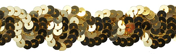 Sequin Trim 1-Inch Wide Polyester Non Stretch Rolls for Arts and Crafts, 10-Yard, Gold
