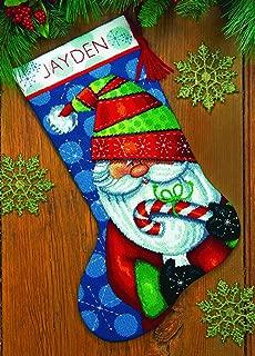 cross stitch cuff christmas stocking