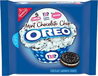 Oreo Chocolate Sandwich Cookies, Mint Chocolate Chip Flavor Crème Baskin Robbins Limited Edition, 10.7 Ounce