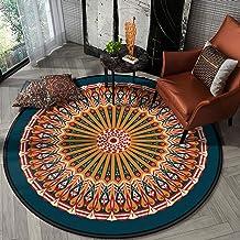 Cotton Round Area Rug,Hand Woven Mandala Printed Pattern Door Mat Indoor Floor Area Mat Machine Washable for Livingroom,Be...