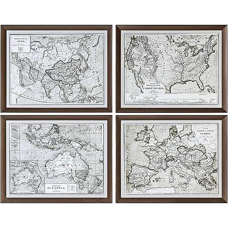 Uttermost World Maps 4 Piece 28 1 4 W Framed Wall Art Set Posters Prints