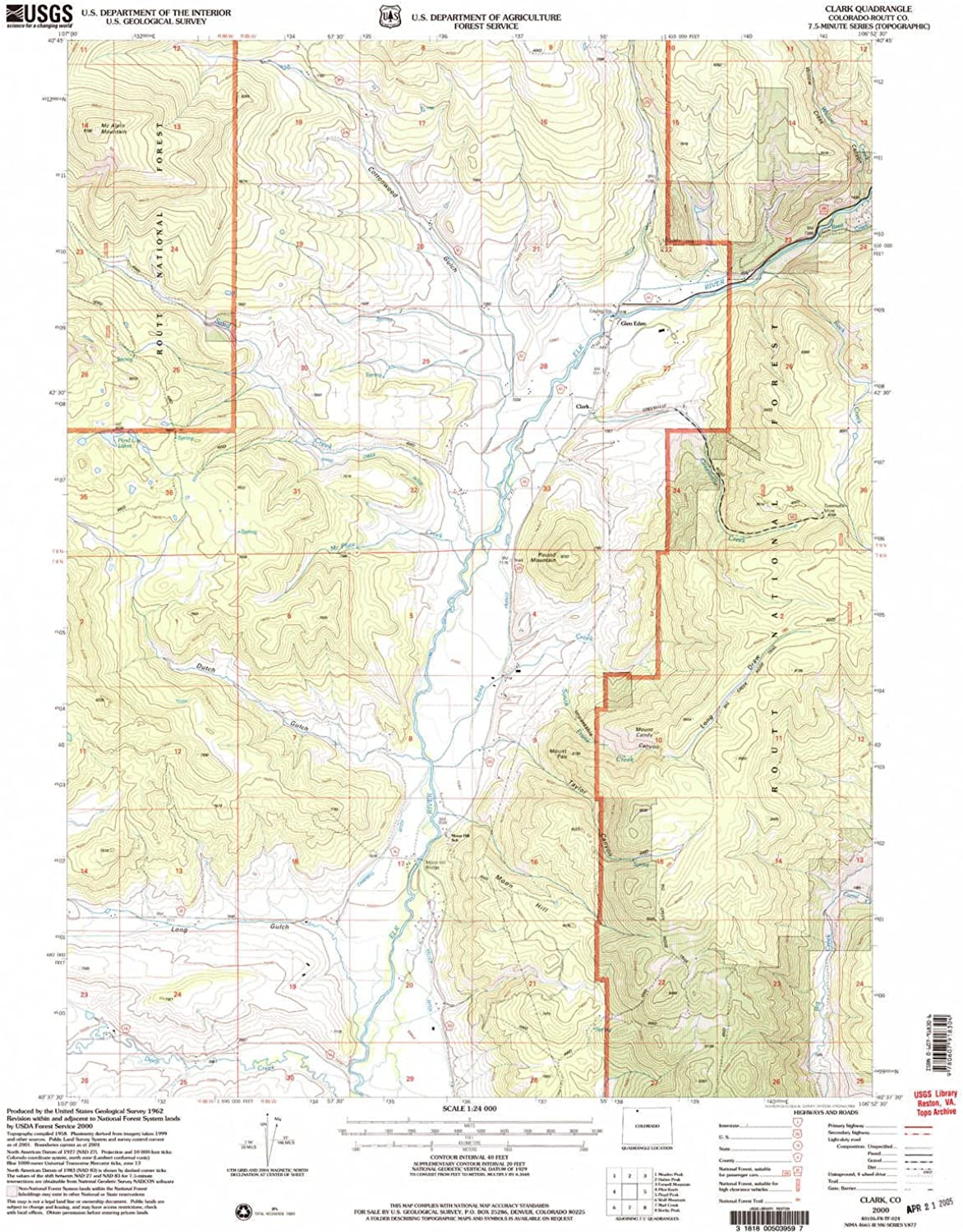 Clark CO topo map, 1 24000 Scale, 7.5 X 7.5 Minute, Historical, 2000, Updated 2004, 26.8 x 21.9 in