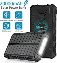 Solar Charger, 20000mAh Solar Qi Wireless Charger, Solar Power Bank Portable External Solar Battery Pack with 4 LED Light 3 Output Ports Carabiner IP54 Rainproof for Camping, Outdoor Activities