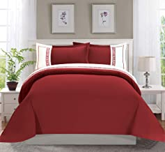 Elegant Comfort Luxury Super-Soft Coziest 1500 Thread Count Egyptian Quality 3-Piece Greek Embroidered Duvet Cover Set, (Insert Comforter Protector) Wrinkle-Free, Full/Queen, Burgundy/White