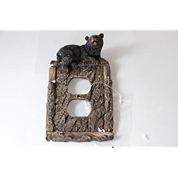 New Black Bear Faux Wood Tree Bark Electric Outlet Cover Plate Cabin Lodge Deco.