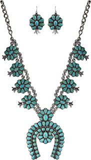 Turquoise Vintage Squash Blossom Metal Statement Necklace/w Earrings No.516