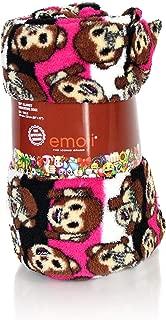 Cute Emoji Smiley Face Luxe Soft Sherpa Throw Blanket Reversible Fuzzy Micro Plush Design Cozy Vegan Mink Fur Fleece Travel Blanket 60