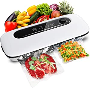 Vacuum Sealer Machine, Automatic Food Vacuum Sealer, Adjustable Suction with Dry & Moist Modes, LED Screen Indicator, Easy to Clean Compact Vacuum Sealing Machine with Vacuum Sealer Bags