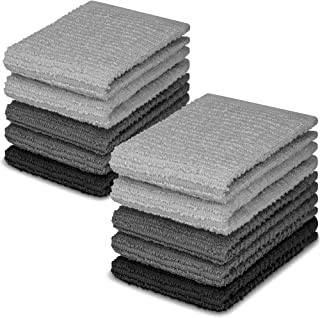 DecorRack 10 Pack Kitchen Dish Towels, 100% Cotton, 12 x 12 Inch Dish Cloths, Perfect Cleaning Cloth for Washing Dishes, K...