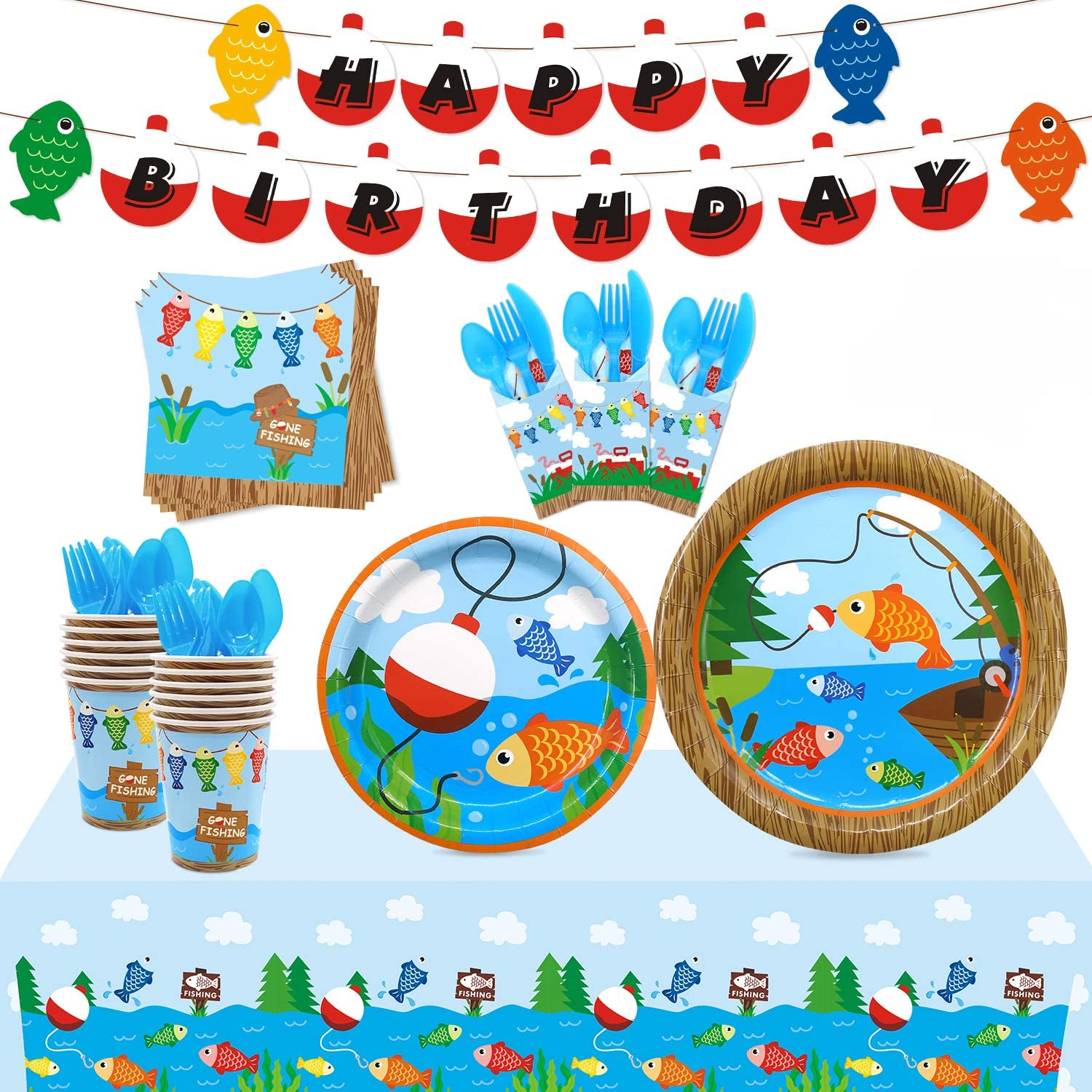 Gone Fishing Party Ranking TOP18 Tableware Supplies Set Very popular 20 Guests-Bobbe Serves