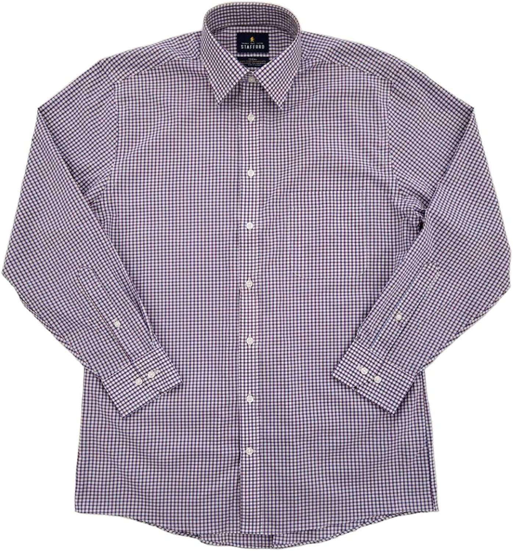 Mens Burgundy Blue Check Stretch Broadcloth Long Sleeve Dress Shirt