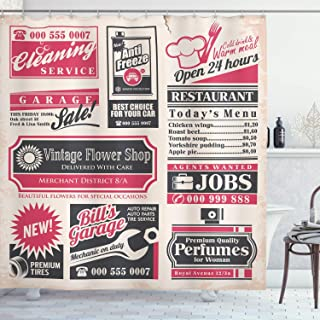CdHBH Vintage Shower Curtain Retro Newspaper Magazine Design outdated Layout Different Themes Title Cloth with Hook Bathroom Decoration Durable Easy to Clean Waterproof Fabric