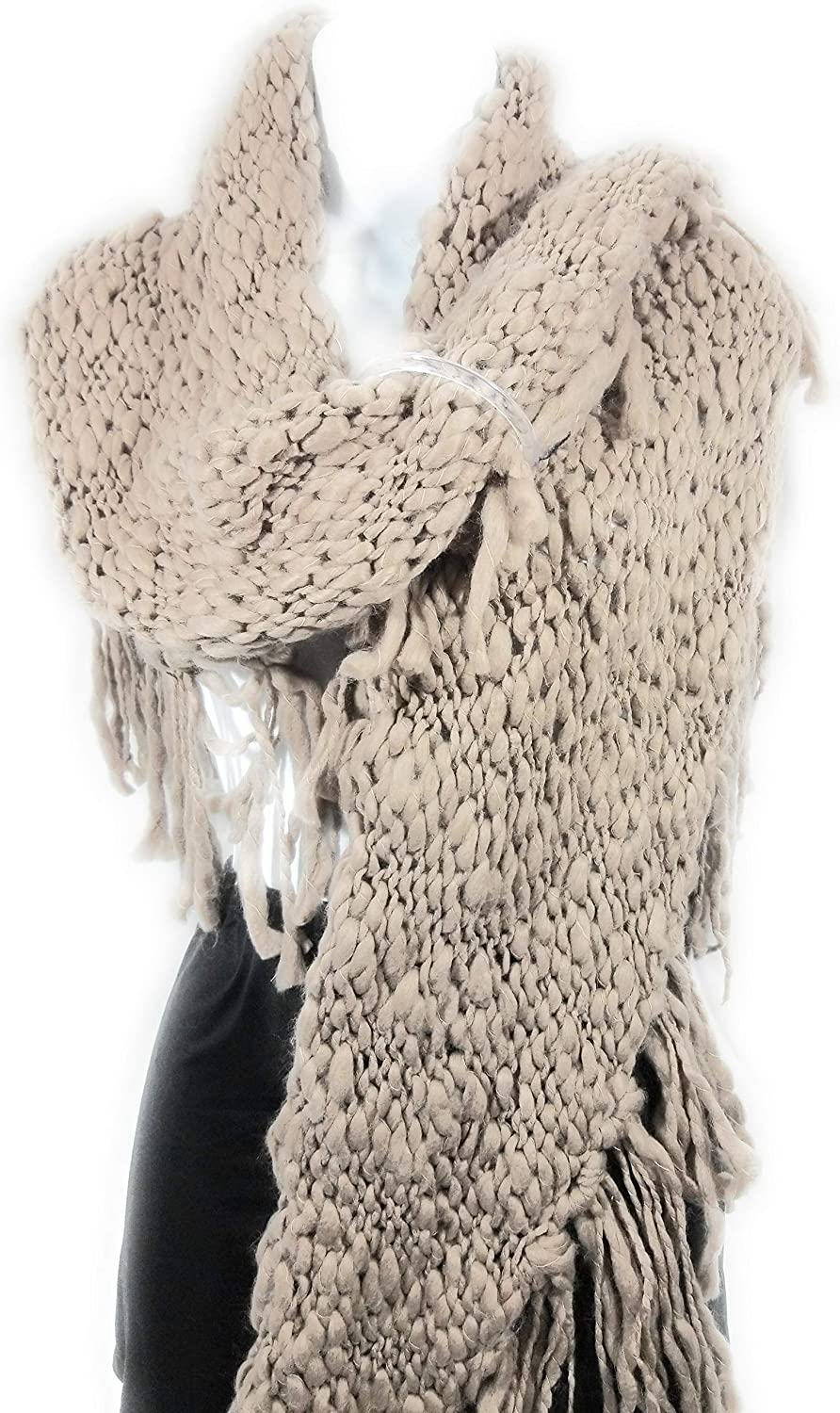 Womens Thick Ribbed Knit Winter Grounded Cocoa Loop Free Scarf