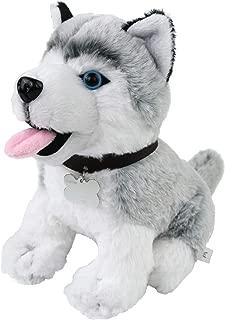 Athoinsu Husky Dog Stuffed Animal Puppy Soft Plush Toy Realistic Dog with Writable Name Tag Christmas Thanksgiving Day for Kids Pets, 8''