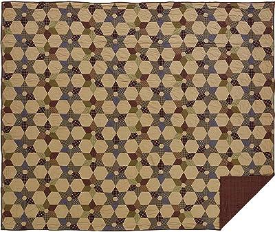 VHC Brands Rustic & Lodge Primitive Bedding-Tea Star Quilt, King, Dark Tan