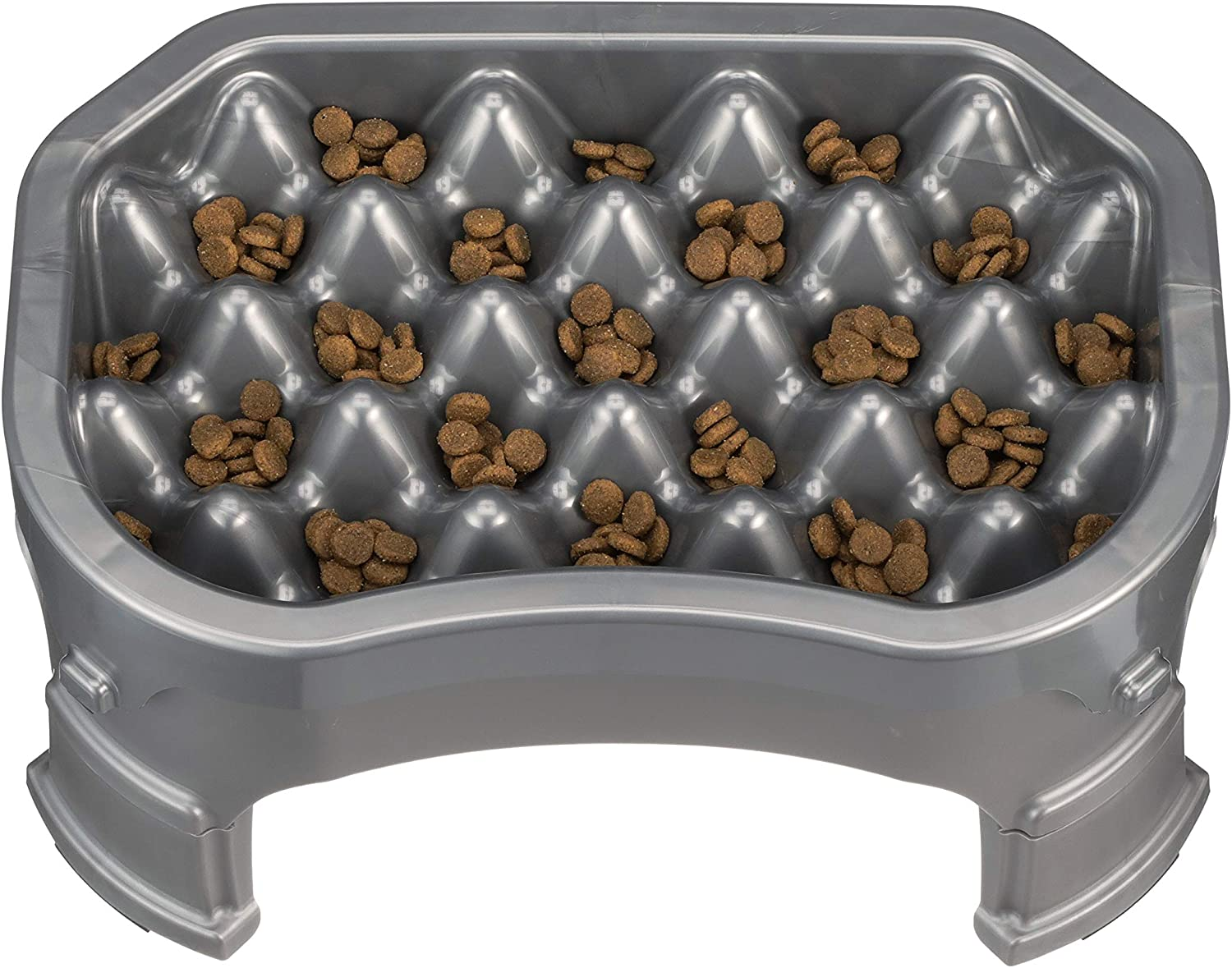 NEATER PET BRANDS  Neater Slow Feeder & Accessories  Gentle Slow Feeding Bowl for Dogs  Gunmetal color  Non Skid Feet (Neater Slow Feeder + Big Bowl Base + Legs, Gunmetal)