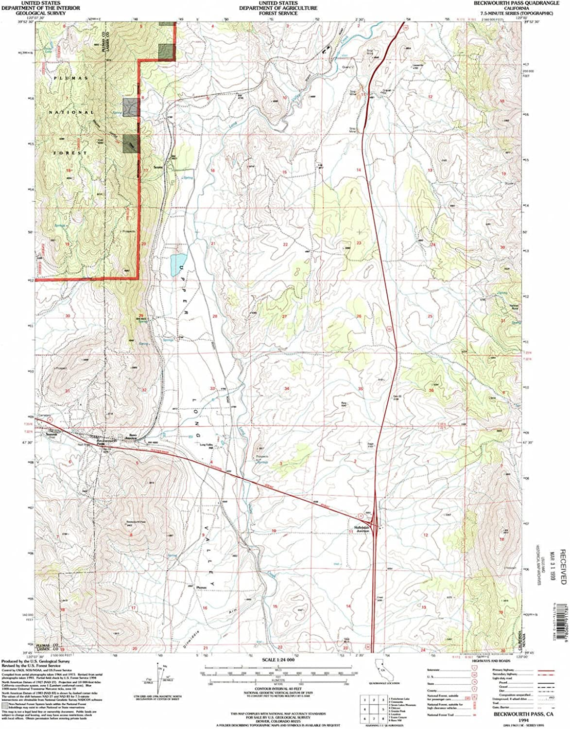 Beckwourth Pass CA topo map, 1 24000 Scale, 7.5 X 7.5 Minute, Historical, 1994, Updated 1998, 26.7 x 21.9 in