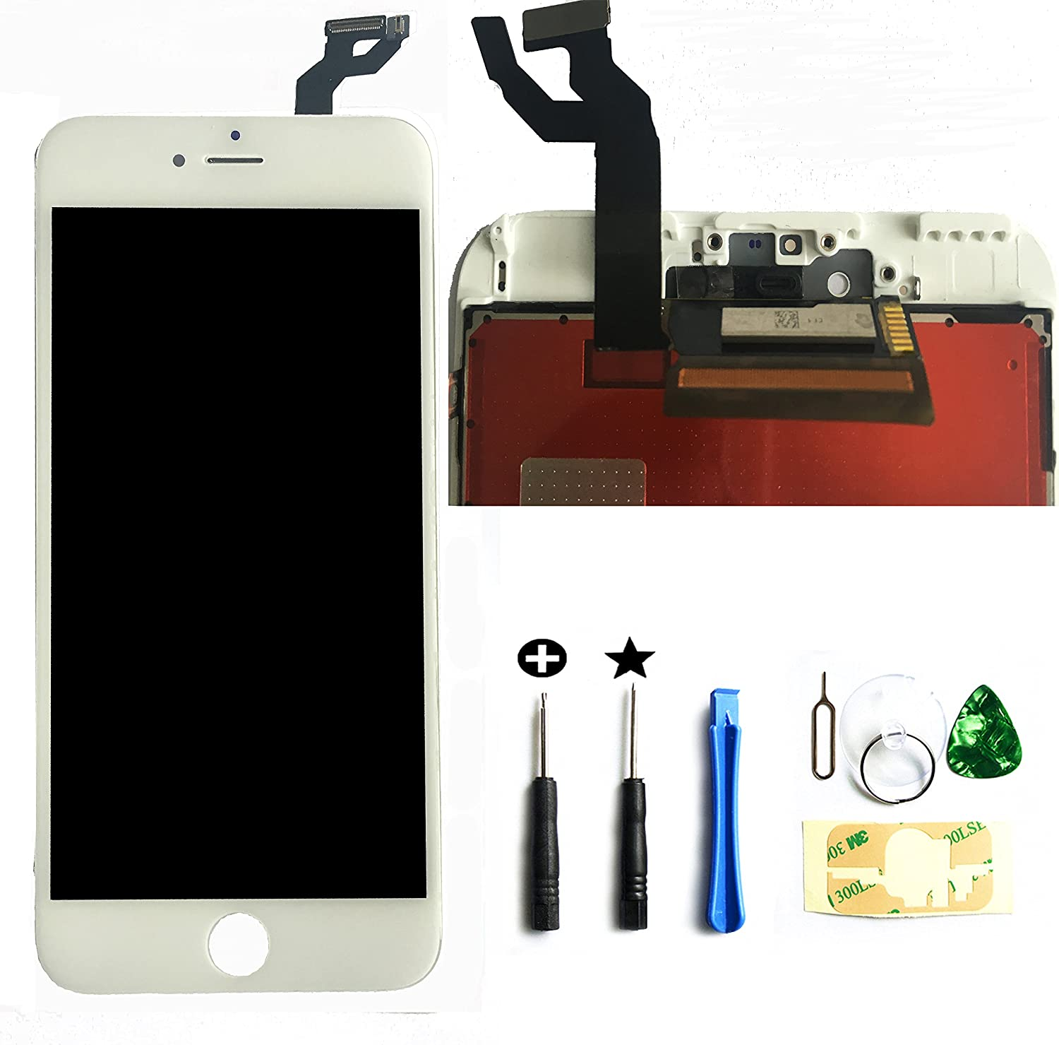 Global Repair for iPhone 6s Plus 5.5 Inch Model: A1634, A1687, A1699 LCD Screen Replacement Digitizer Frame Assembly in White
