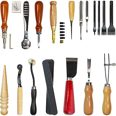 Pingle Leather Carft Punch Tools Kit 18pcs Stitching Carving Working Sewing Saddle Groover Leather Craft DIY Tool