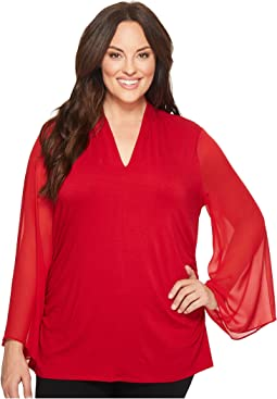 Vince Camuto Specialty Size - Plus Size Chiffon Bell Sleeve Side Ruched Top