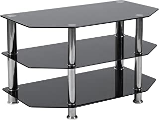 Flash Furniture North Beach Black Glass TV Stand with Stainless Steel Metal Frame,