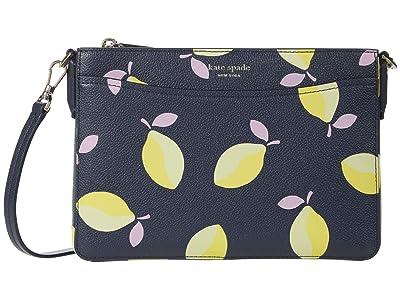 Kate Spade New York Margaux Lemons Medium Convertible Crossbody (Blue Multi) Handbags
