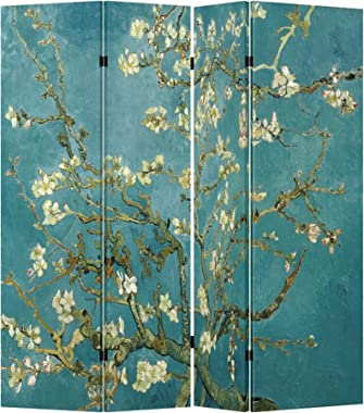 4 Panel (Original Teal Color) Wood Folding Screen Decorative Canvas Privacy Partition Room Divider - Vincent Van Gogh's Almon