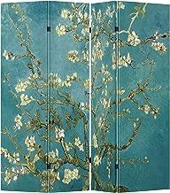 4 Panel (Original Teal Color) Wood Folding Screen Decorative Canvas Privacy Partition Room Divider - Vincent van Gogh's Almond Blossoms