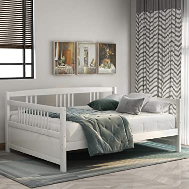 Solid Wood Daybed, Full Size Bed Frame Multi-Functional Daybed for Kids/Guest Bedroom, No Box Spring Required, White