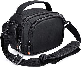 FOSOTO ビデオカメラケース ビデオカメラ用 バッグ デジタルカメラバッグ ショルダーベルト付 仕切りRICOH GR III Canon G7 X Mark II G9X Panasonic DMC-TZ85 V360MS V480MS W580M VX980M VX985M HC-WX990M HC-W870M SONY HDR-CX675 CX670 AX-55 HDR-MV1 HDR-CX680 JVC Everio GZ-R300 HV20に対応(ブ ラック)