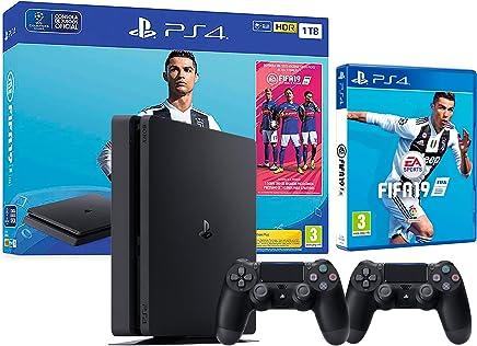 PS4 Slim 1Tb Negra Playstation 4 Consola + 2 Mandos Dualshock 4 + FIFA 19