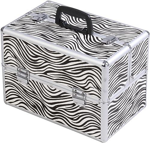 "popular Giantex 14""x9""x10"" Pro Aluminum Makeup discount Train Case Jewelry sale Box Cosmetic Organizer (Zebra) outlet online sale"