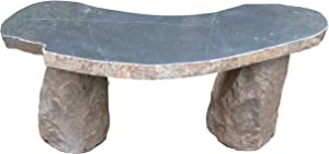 Stone Age Creations BE-BO-1C Curved Boulder Bench, Grey