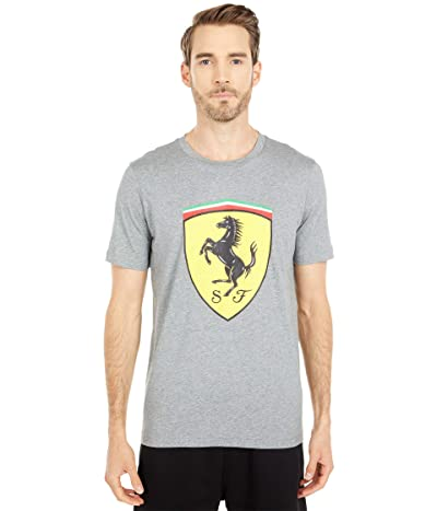 PUMA Ferrari Race Big Shield Tee+ (Medium Gray Heather) Men