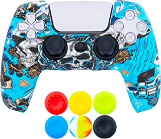 9CDeer 1 Piece of Silicone Transfer Print Protective Thick Cover Skin + 6 Thumb Grips for Playstation 5 / PS5 / Dualsense ...