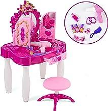 میز بازی Vanity Table و صندلی آینه و لوازم جانبی بازی Sretend Play را با لوازم جانبی مد و آرایش دخترانه تنظیم کنید