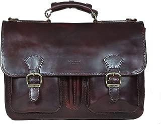 I Medici Cartella Scuola Italian Leather Briefcase, Messenger Bag in Dark Brown