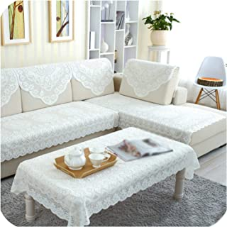 Sunjinjing White Lace Sofa Towel Tea Table Cloth Flowers Pattern Sofa Towel Backrest Handrail Towel for Living Room Sectional Sofa Covers, 60X60Cm
