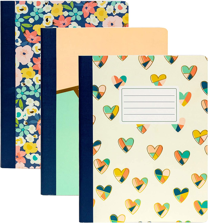 Pukka Pad, Carpe Diem 3-Pack Composition Notebook 70 Premium 80 GSM Ruled Sheets, Multi-Color