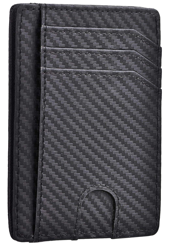 Kinzd クレジットカードケース カーボンファイバー お札入れ 薄型 カード入れ RFIDスキミング防止 身分証明書入れ 小さい財布
