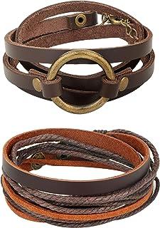 Jstyle 2Pcs Genuine Leather Bracelet for Men Women Unisex Multilayer Leather Adjustable Bracelet Cuff Wrap Rope Wristband ...