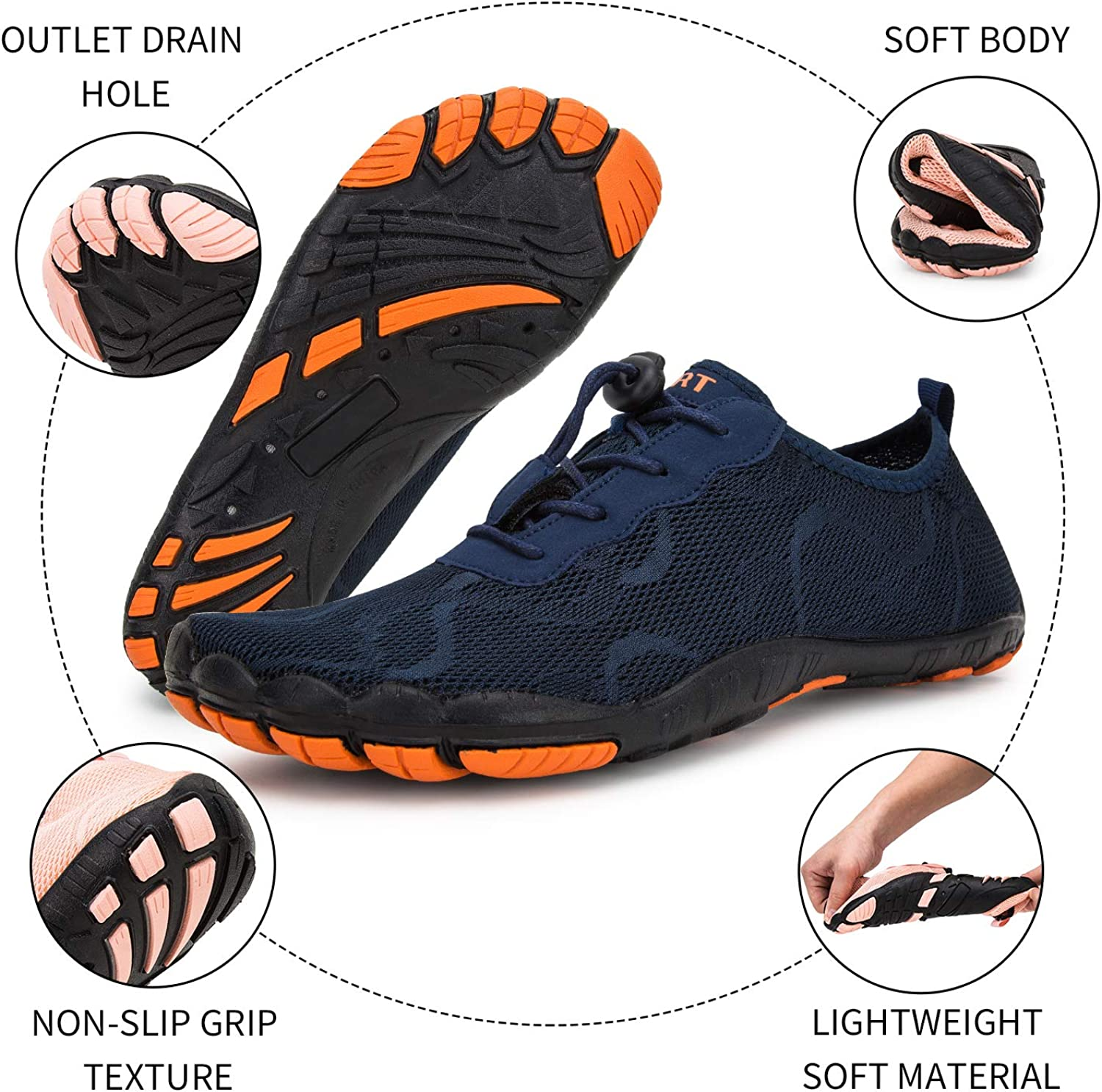 Water Shoes for Men and Women Barefoot Quick-Dry Aqua Sock Outdoor Athletic Sport Shoes for Kayaking Boating Hiking Surfing Walking