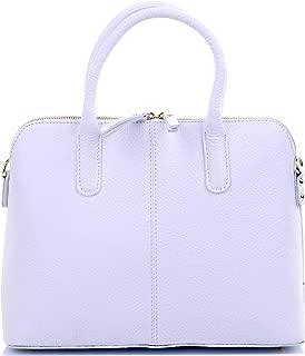 Italian Textured Leather Hand Made Bowling Style Handbag Tote Grab Bag Shoulder Bag