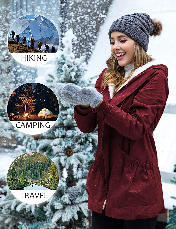 Beyove Womens Winter Warm Coat Hooded Parkas Overcoat Fleece Outwear Jacket with Drawstring