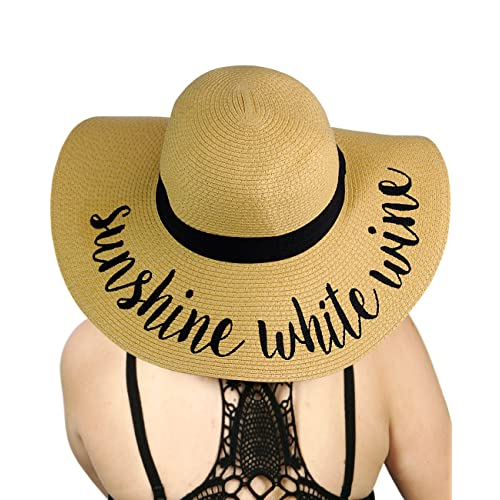 0cfd5ea8ee797 C.C Women s Paper Weaved Crushable Beach Embroidered Quote Floppy Brim Sun  Hat