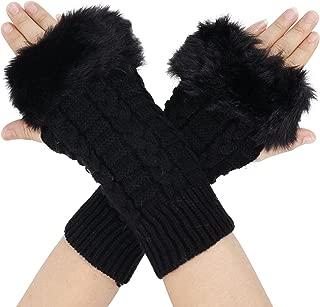 Women's Winter Faux Fur Knit Fingerless Hand Warmer Mitten Gloves