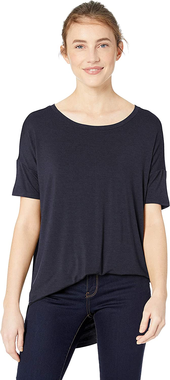 Amazon Brand - Daily Ritual Women's Jersey Rib Trim Drop-Shoulder Short-Sleeve Scoop-Neck Tunic Shirt