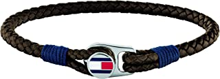 TOMMY HILFIGER MEN'S STAINLESS STEEL & BROWN LEATHER & NAVY CORD BRACELETS -2790207S